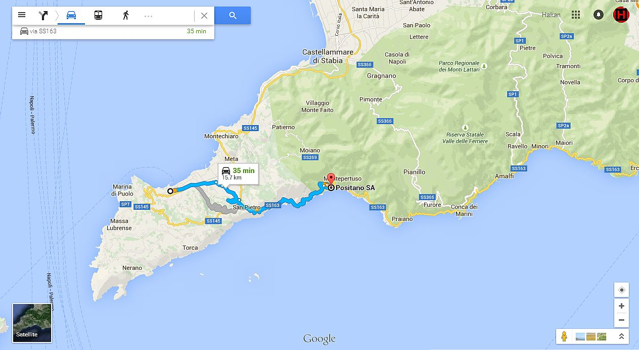 Sorrento-Positano distance map