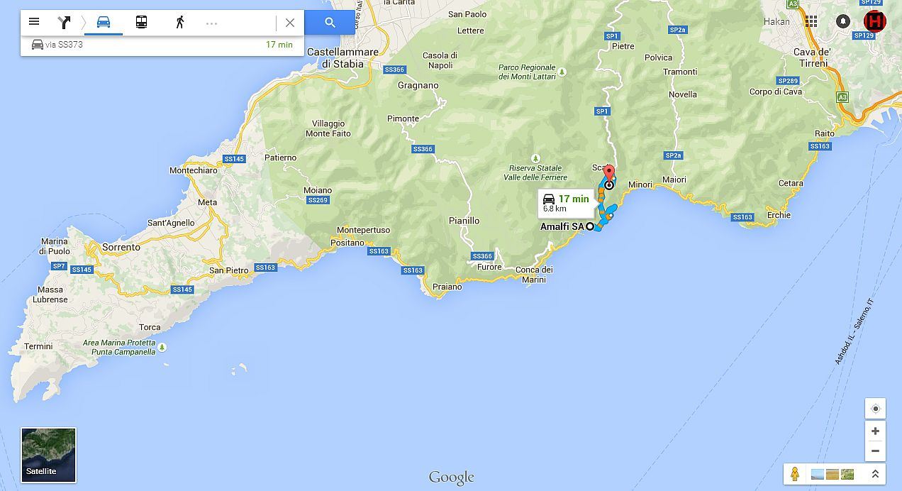 Amalfi-ravello distance map